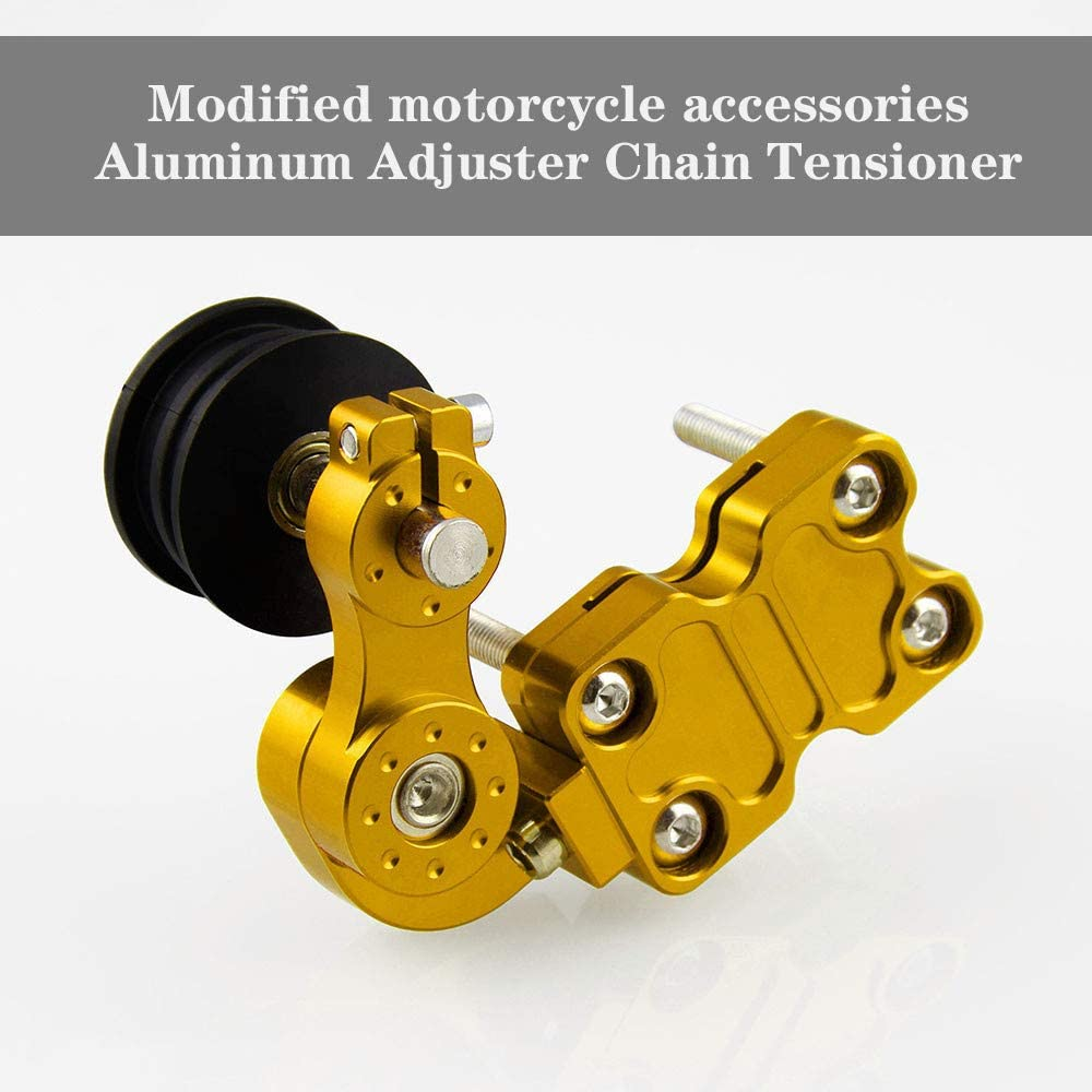 with Rubber Chain tensioner A Universal Chain Roller Tensioner Aluminum Adjuster Chain Tensioner Roller Black//Silver//Blue//Gold for Motorcycle//Chopper Dirt Pit Bike