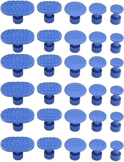 Keenso 30 Stk Blau Karosserie Dellenreparatur Werkzeuge Auto Dellenentferner Ausbeulen Saugnapf Kleber Puller Tabs Auto