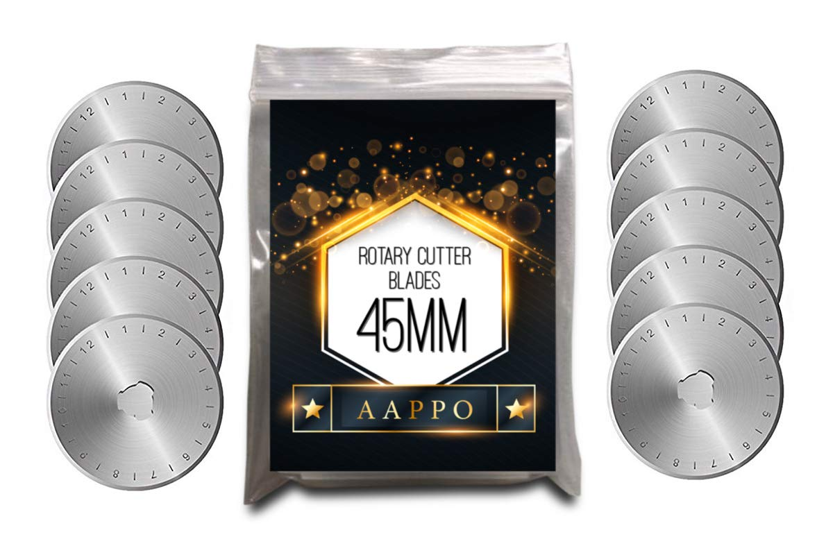 Rotary Cutter Blades 45mm 10 Pack - Best for Rotary Ruler Set Quilting Circular Fabric Leather Cutter, Sewing Arts Crafts, Replacement Parts. 100% Premium SKS-7 Stainless Steel - Sharp and Durable Abbo Products 4336996632