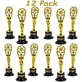 Pack of 12 Plastic Gold Award Trophies, 6 inch Great Trophy's For Kids Awards, Party Favor, Great for Teachers at School, By 4E's Novelty