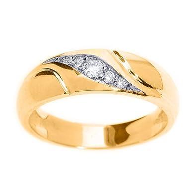 222842f5d7 Men's 14k Yellow Gold 5-Stone Swirl Set Diamond Wedding Band, Size 4