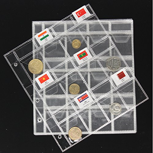 Coin Storage Holders Money Collection Case Stamp Currency Protector Insert Page Sheets 24 Pockets for Coins and Flags(Pack of 10)