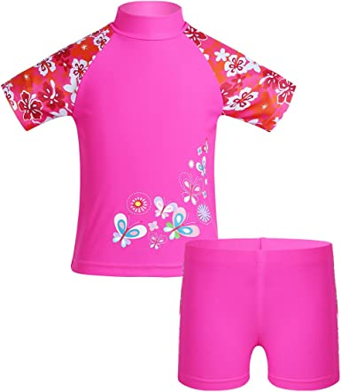 Freebily Kids Girls Two Piece Short Sleeve Rash Guard Tankini Swimsuit Swimwear Vest Sun Protection Wetsuit Set UPF 50+