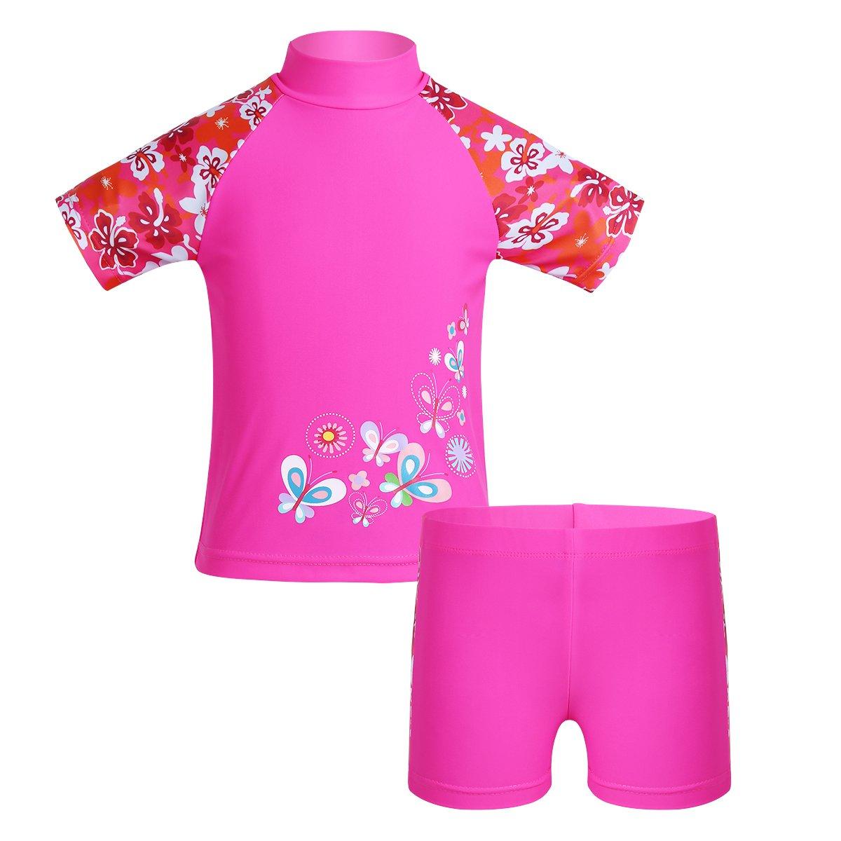 Freebily Kids Girls Two Piece Short Sleeve Rash Guard Tankini Swimsuit Swimwear Vest Sun Protection Wetsuit Set UPF 50+