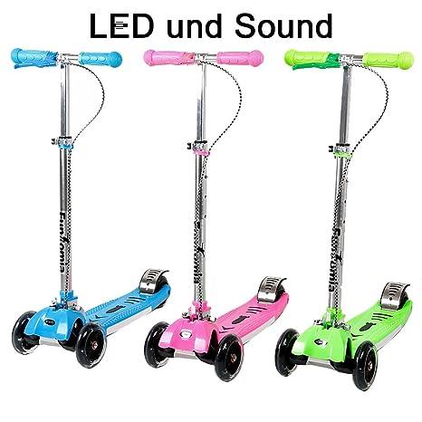 Fun tomia LED niños Roller Patinete Cruiser Kick Jump City Roller en 3 colores y plegable con LED Luz y Sonido