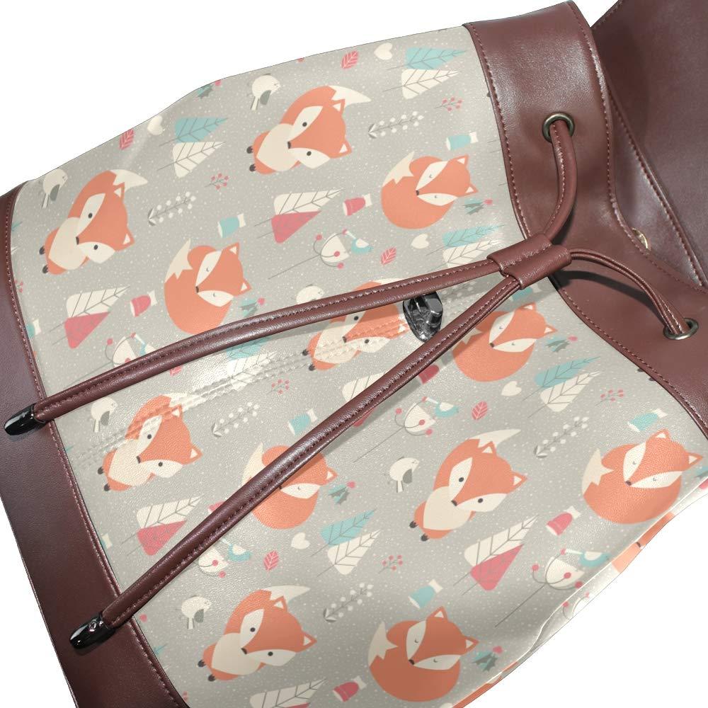 KEAKIA Women PU Leather Fox Pattern Backpack Purse Travel School Shoulder Bag Casual Daypack