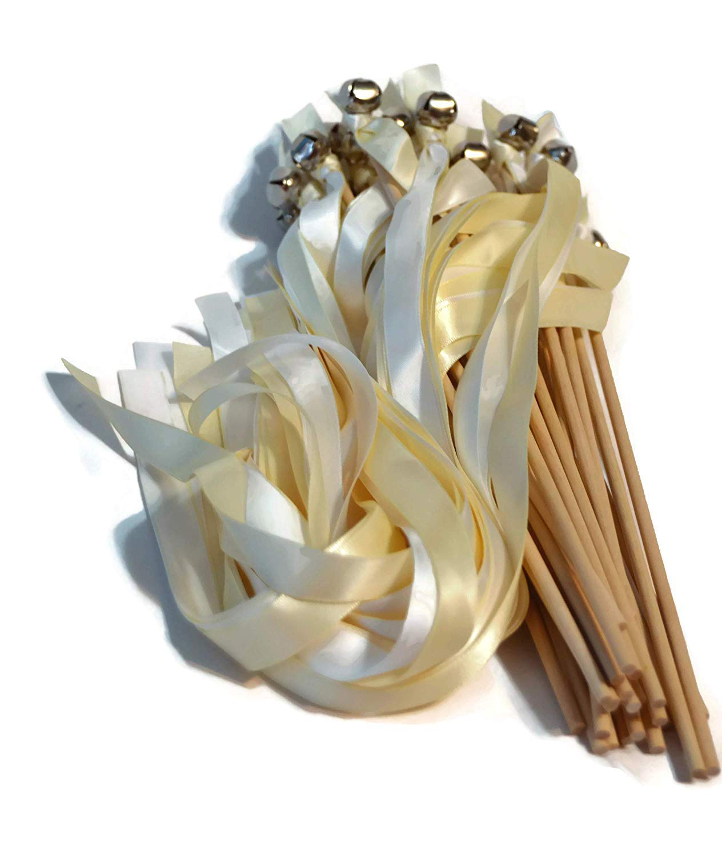 100 White & Ivory Ribbon Silver Bell Wedding Wands #DivinityBraid #SendOffBells #WeddingWands #Wedding #Favors #CeremonySendOff #Party #KissingBells #RibbonWands