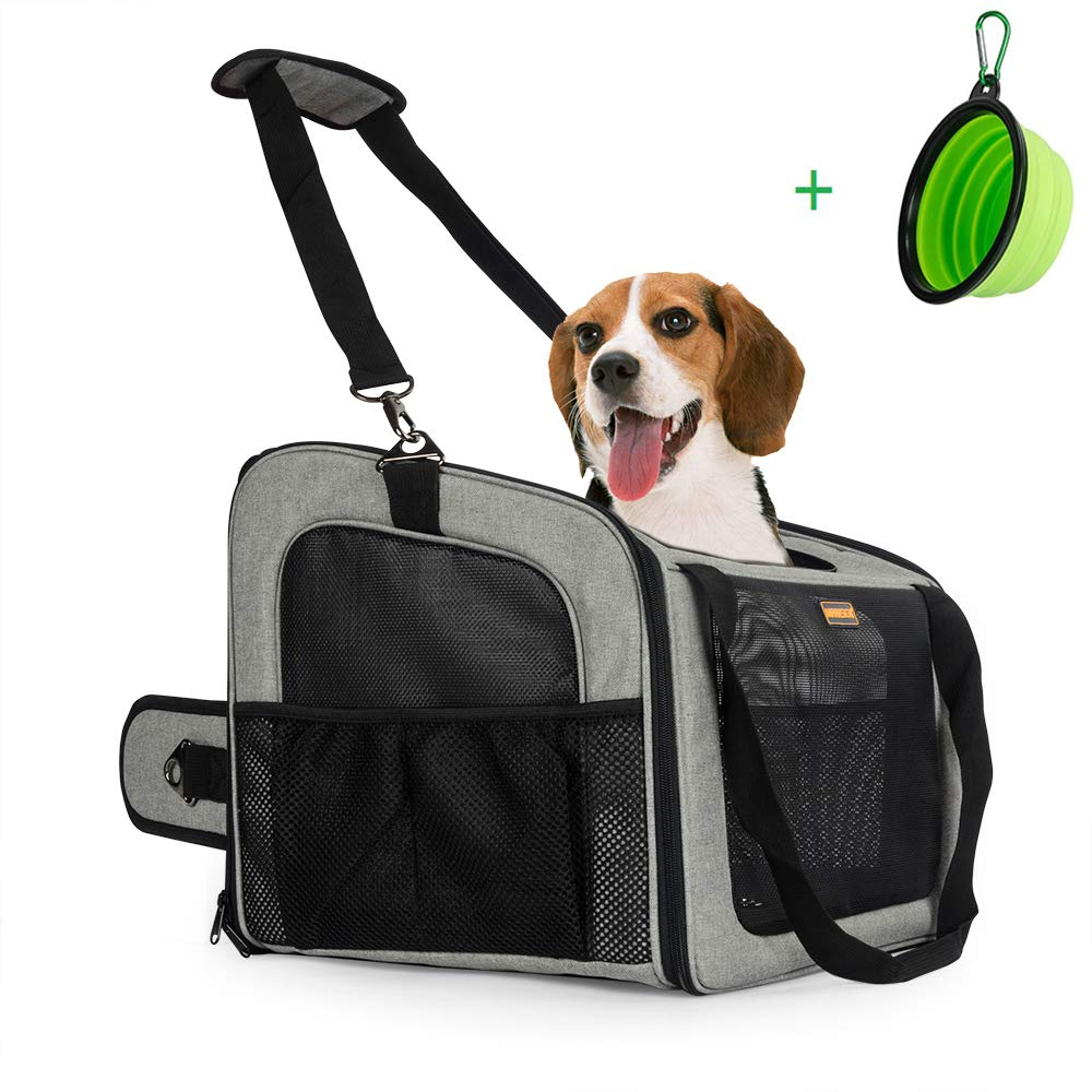 MARKSIGN Pet Booster Seat with Built-in Tether and Removable Plush Liner, Pet Carrier, Holds Small Dogs up to 20lbs. Free Collapsible Pet Bowl Included by MARKSIGN