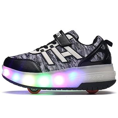 8902ef9718f28 ローラーシューズ LED 光る靴 ローラースケート 男の子 女の子 キッズスニーカー キッズシューズ カップル靴 (