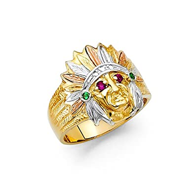 14K Tri Color Gold Native American Indian Head CZ Men s Ring