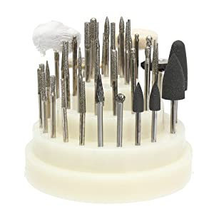 40 PCS low Speed Micro Polishing Drill Bits Include Tungsten Carbide Burr, Silicone Polishers, Diamond Burs, Hair Brush by Dr. House