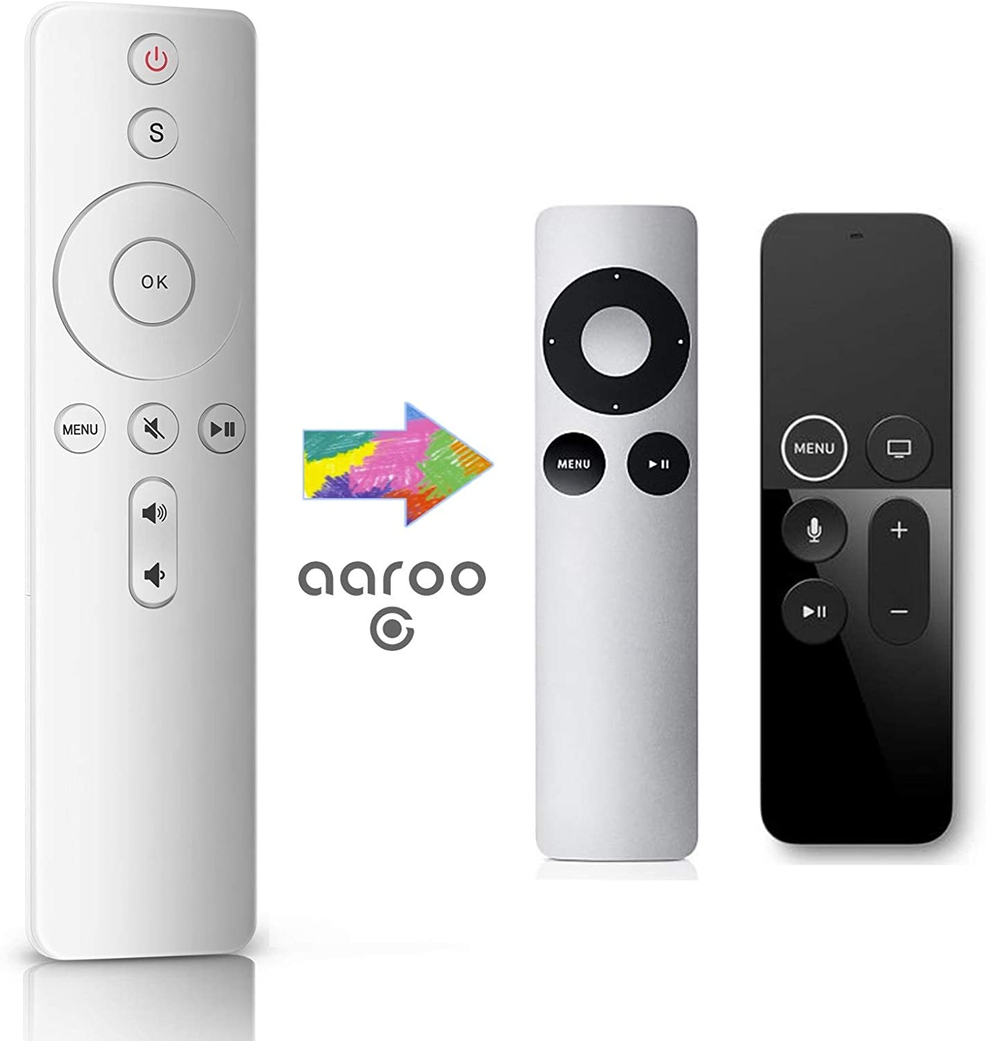 aarooGo Remote with Power Volume Replaced for App TV 4K Player A1294 A1218/MA711 A1378/MC572 A1427/MD199 A1625/MGY52/MLNC2 A1842/MQD22/MP7P2 and Samsung/Vizio/LG/Insignia TVs (Ivory)