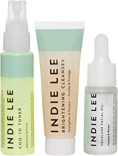 product image for Indie Lee Discovery Kit - Brightening Cleanser, CoQ-10 Toner + Squalane Facial Oil - Skincare Regimen for Adults (3-Piece Travel Size Set)