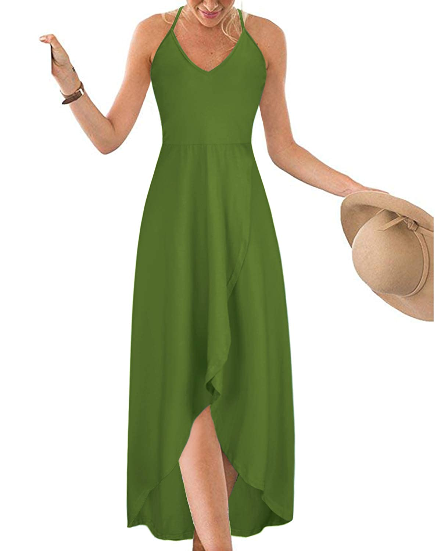 KILIG Womens V Neck Sleeveless Summer Asymmetrical Patchwork Floral Maxi Dresses