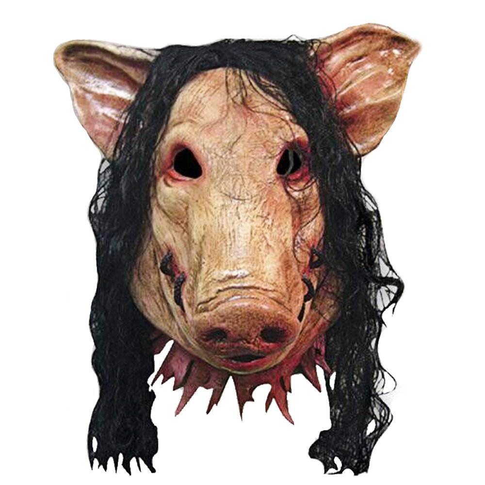Super Pauroso Orrore Diavolo Maiale Testa Maschera di Animale in Lattice per Cosplay Halloween Puntelli Ballo in Maschera Bar Costume Decorazione Vococal