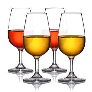 MICHLEY Unbreakable Stemmed Wine Glasses, 100% Tritan Plastic Small Snifter Glasses, BPA-free & Dishwasher Safe, Small Size 7.8 oz,Set of 4