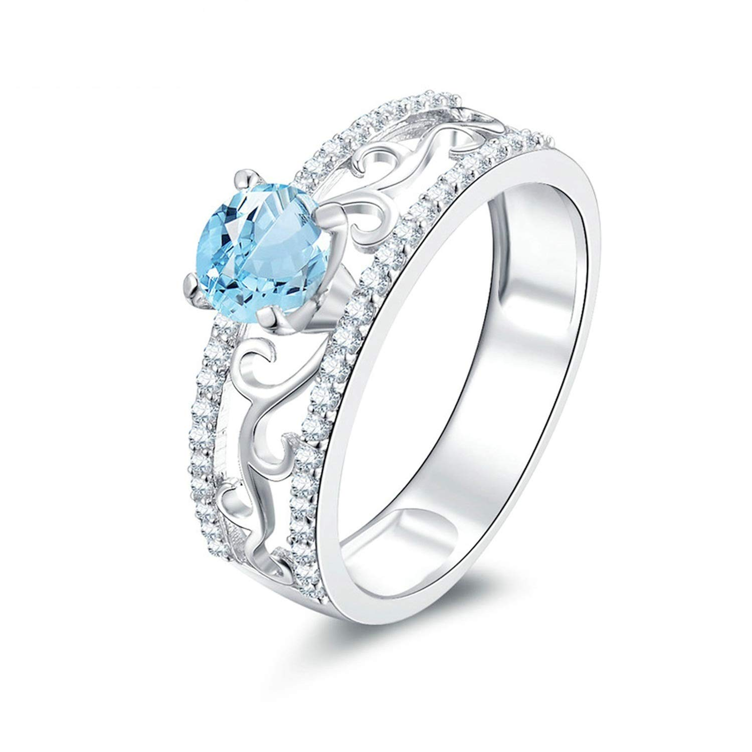 AMDXD Jewelry 925 Sterling Silver Anniversary Rings Women Blue Round Cut Topaz Round Rings