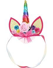 BESTOYARD Childrens Unicorn Headband Glitter Unicorn Horn Hair Hoop with Ears Girls Flowers Headband for Party Decoration (Colorful)