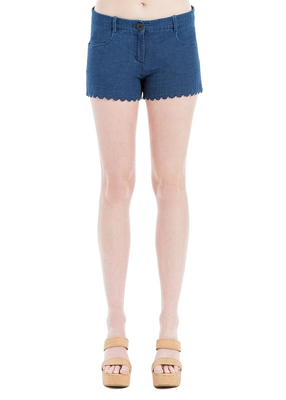 Max Studio Womens Flat Front Mid-Rise Denim Shorts Blue 8