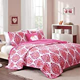 Mi-Zone - Audra Coverlet Set - Pink - Full/Queen - Damask Print - Includes 1 Coverlet, 2 Shams, 1 Decorative Pillow