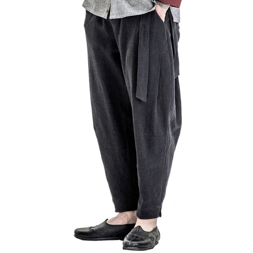 Lingle Dream Mens Loose Hemp Gym Harem Sport Pants Trouser, Black XL by Lingledream
