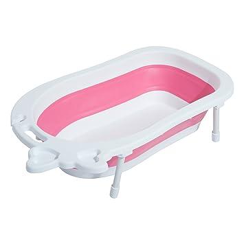 HOMCOM 30L Baby Bath Tub Foldable Toddler Kids Infant Wash Play ...
