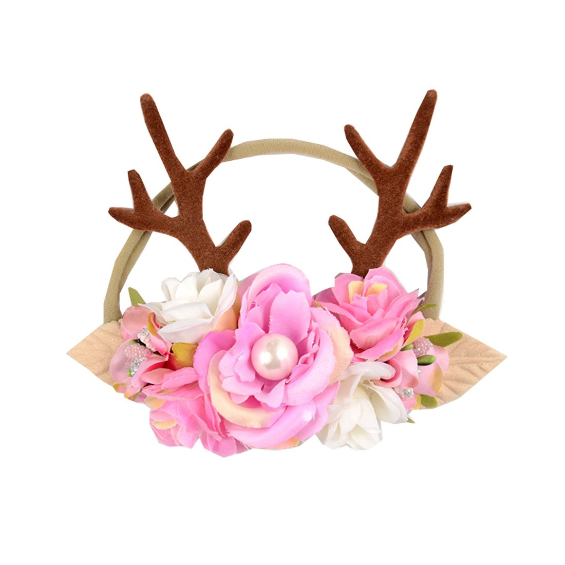 Love Sweety Baby Antler Headband Newborn Rose Floral Crown Wreath Berry Headpiece (Pink)