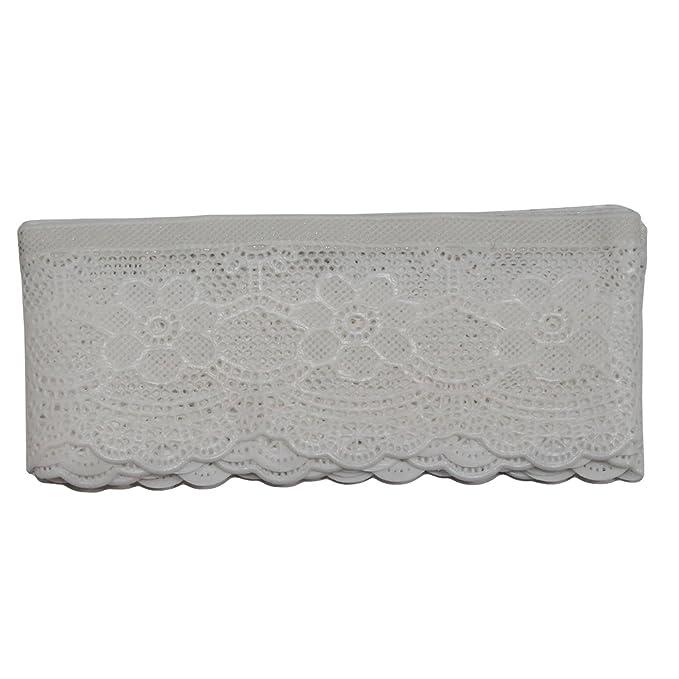 Donhule Cenefa Decorativa de puntilla Adhesiva con Bordados Blancos: Amazon.es: Hogar