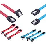 SATA III 3.0 Cable, TERSELY [6-Pack] 19-inch / 50cm SATA III 6.0 Gbps 7pin Straight 90 Degree Right-Angle HDD SSD Cd Driver, Cd Writer Data Cable with Locking Latch (3X Blue, 3X Red)