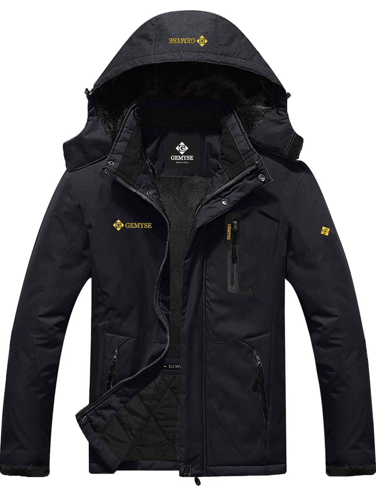 GEMYSE Men's Mountain Waterproof Ski Snow Jacket Winter Windproof Rain Jacket (Black,L) by GEMYSE