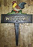 Cast Iron ROOSTER WELCOME Sign Garden Stake Home Decor CHICKEN Plaque HEN Farm by OutletBestSelling