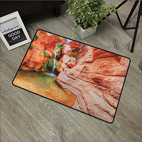 (Bathroom mat W35 x L47 INCH Americana,Elves Chasm Colorado River Plateau Creek Grand Canyon Image Print, Scarlet Green Pale Brown Our Bottom is Non-Slip and Will not let The Baby Slip,Door Mat Carpet)