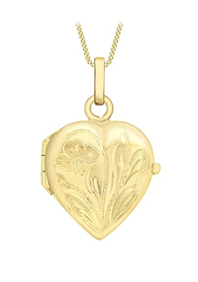 Carissima Gold 9ct Yellow Gold Heart Daisy Locket Pendant on Curb Chain Necklace of 46cm/18 v0dgkC