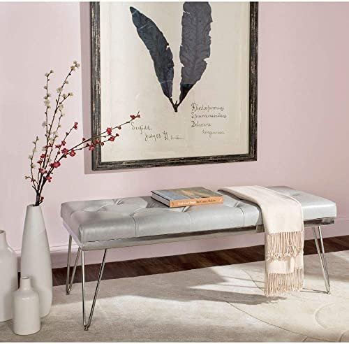 Safavieh Home Collection Marcella Grey Chrome Bench