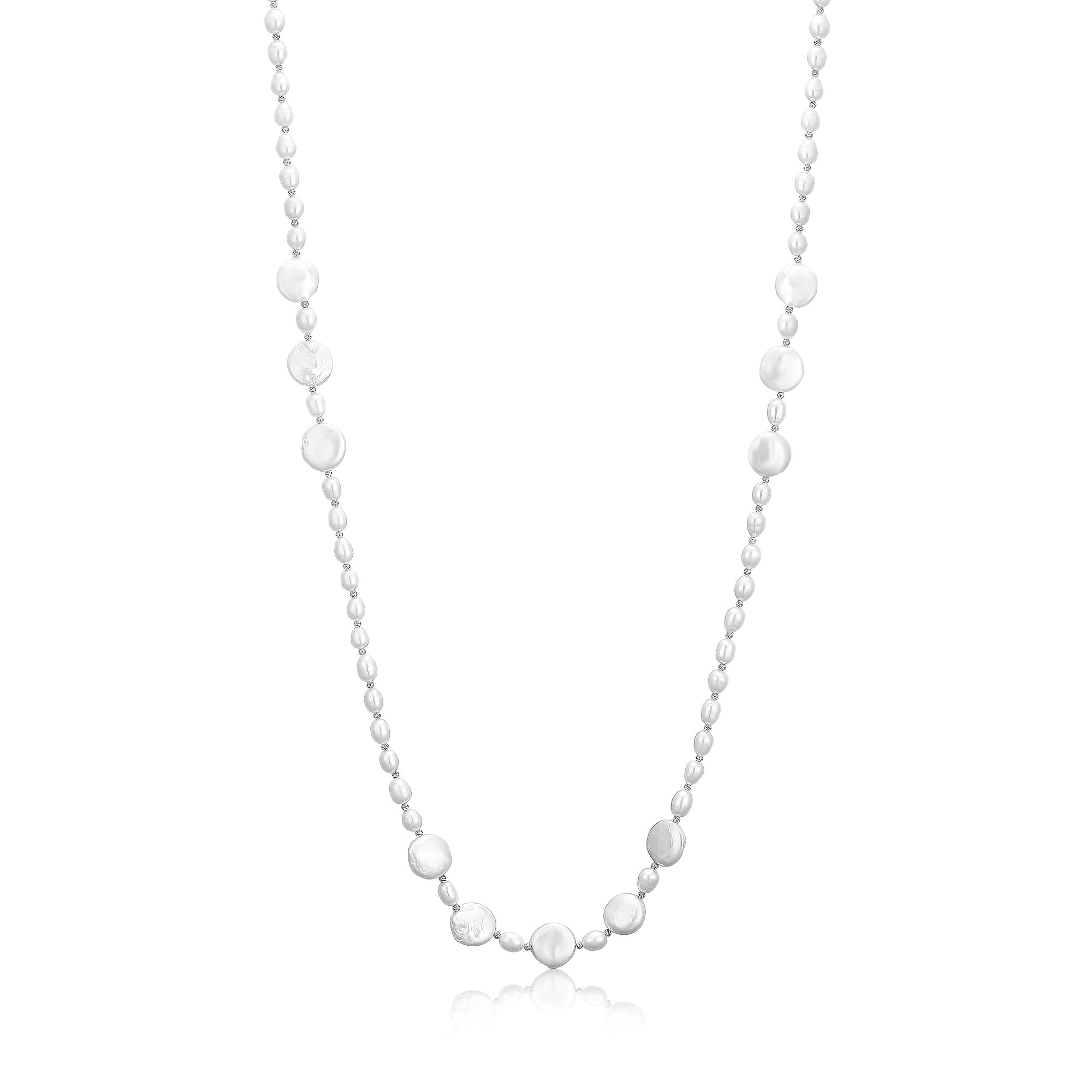 Mother' Day Long Pearl Costume Necklace AAA White Cultured Freshwater Pearls Women Jewelry Silver