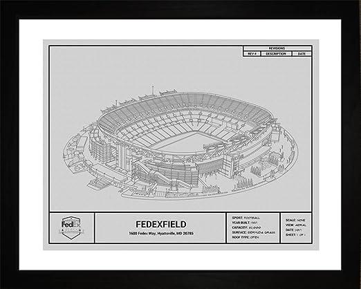 Kennedy Stadium Wall Art Print F7525A Framed Football Washington Redskins Robert F