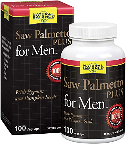 Natural Balance Saw Palmetto Plus for Men s Prostate Health Urinary Frequency Flow Support w Pygeum Pumpkin Seeds 100 VegCaps, 50 Servings