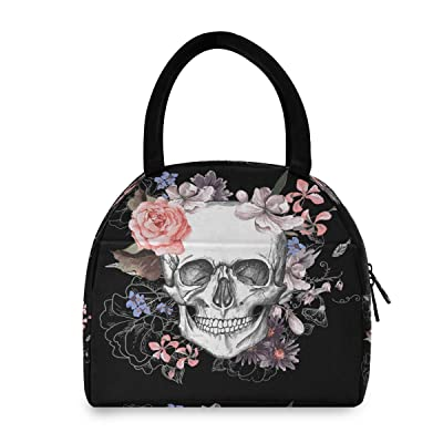 BETTKEN Insulated Lunch Bag Tote Box Floral Mexico Flower Dead Skull Women Men Leakproof Reusable Cooler Organizer Lunch Container Bag for Travel Work Picnic: Kitchen & Dining