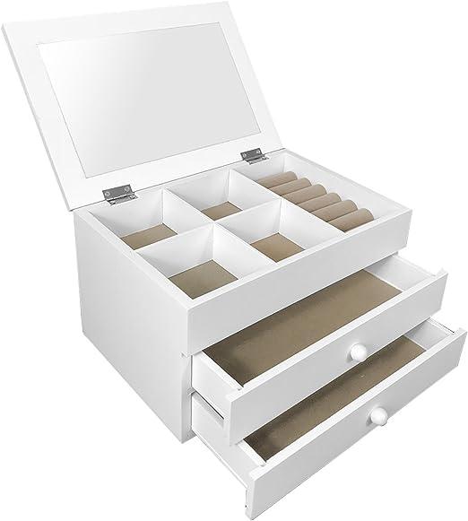 Schmuckkasten Aufbewahrung Accessoires Schatulle 10 Schubladen 15 Fächer weiß