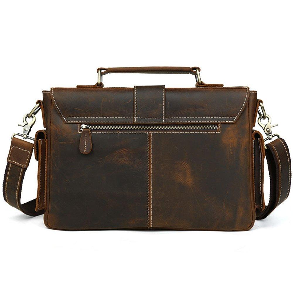 35x23x5.5cm Briefcase TLMYDD Business Briefcase Leather Shoulder Bag Messenger Bag Handbag Men Bag Brown