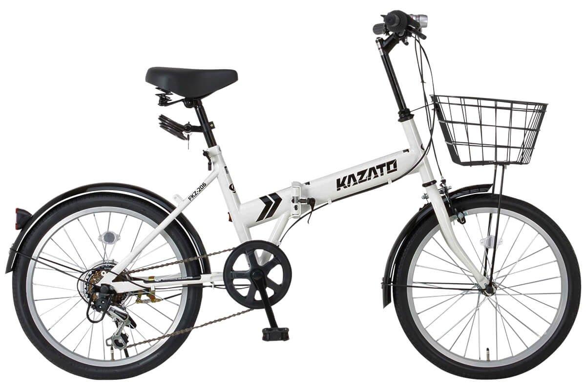 【カゴフロントライトワイヤー錠SET】KAZATO(カザト)FKZ-206 折り畳み自転車 折りたたみ 折りたたみ自転車 20インチ シマノ製6段変速 前後フェンダー B00XQO0AN4白