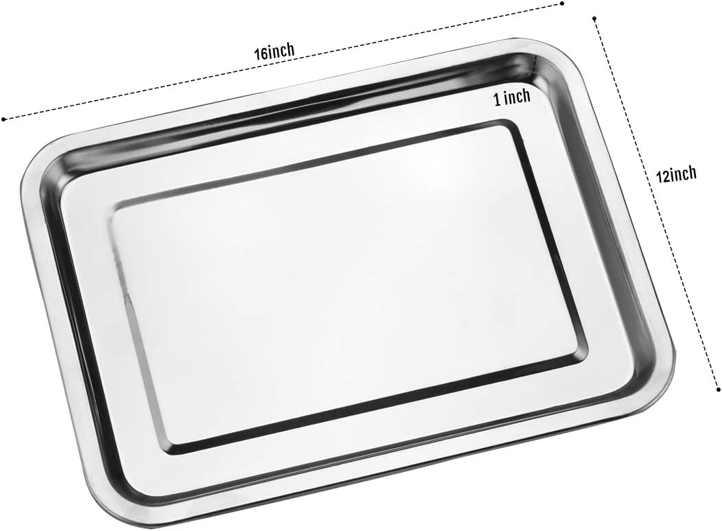 Nonstick/& Healthy/& Easy Clean Hi-QTool Baking Sheets Set of 2-Stainless Steel Baking Sheet Size 16/×12/×1 Inch