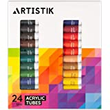 Acrylic Paint Set - 24 Piece Set of Professional Painting Acrylic Paints with Vivid Pigments and Rich Colours Perfect for Any Age and Skill Level (Set of 24 Tubes)