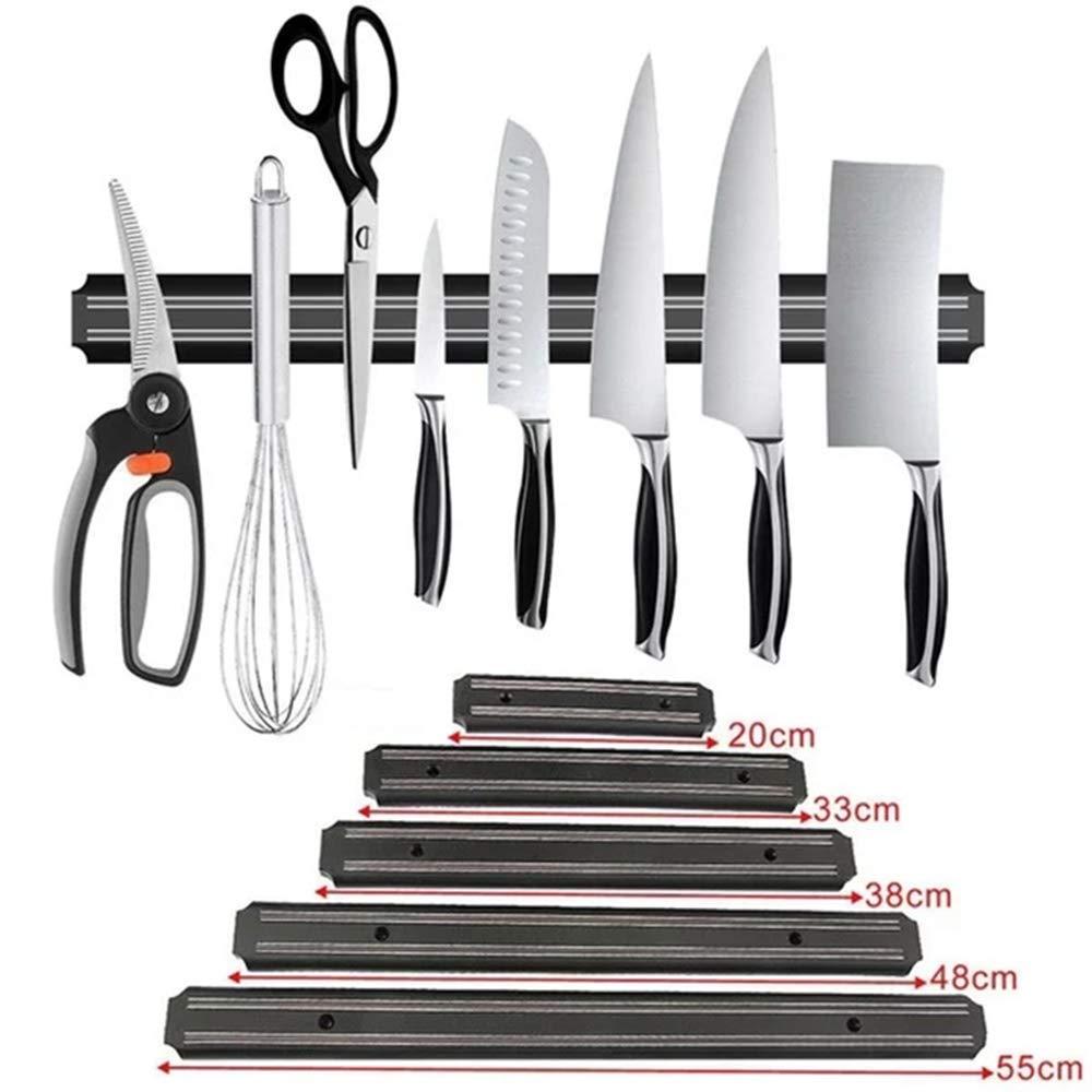 KangHan Porte-Couteau Magn/étique pour Porte-Aimant Mural en Plastique Abs Noir Mural avec Fonction Multifonction pour La Fixation des Outils Et De La Vaisselle,20cm