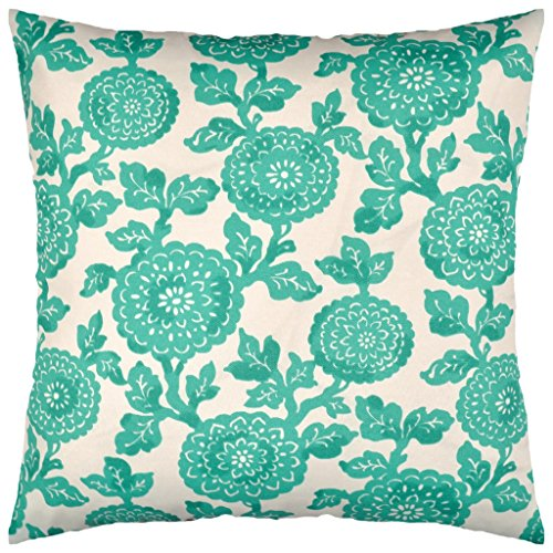Green Floral Bolster Pillow (JinStyles Floral Outdoor Decorative Throw Pillow Cover (Teal Green, 18 x 18 Inch))