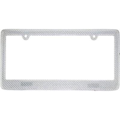 BLVD-LPF OBEY YOUR LUXURY Real 100% Silver Carbon Fiber License Plate Frame Tag Cover FF - A with Matching Screw Caps - 1 Frame: Automotive