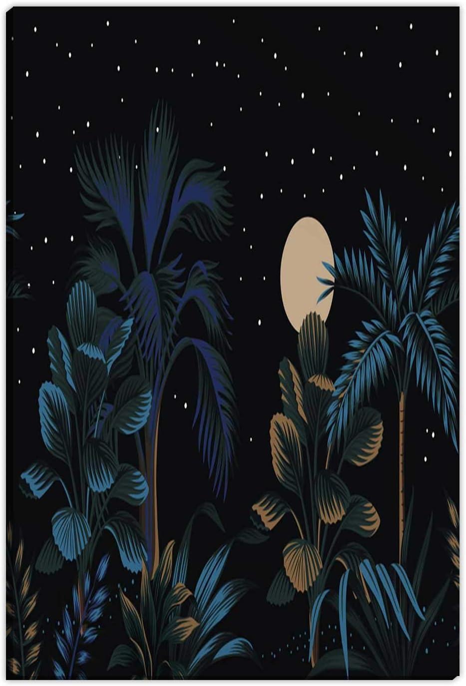 Hitecera Tropical Night Vintage Palm Tree Banana,Wall Art for Office,Farmhouse Bathroom Decor,12''x16''