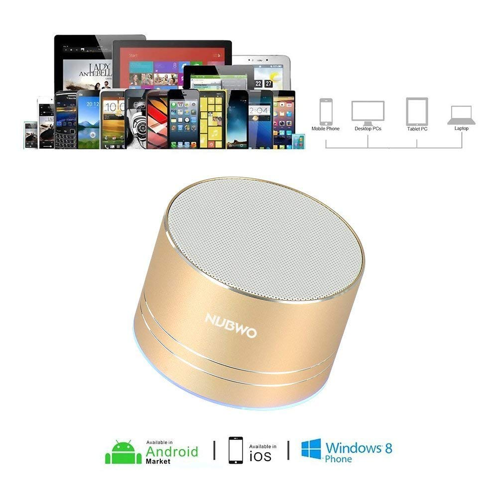 Gold NUBWO Bluetooth Speaker Wireless Portable Travel Mini Speaker with Superior Sound,5-Hour Playtime,Build-in Mic,Low Harmonic Distortion,Patented Bass Port,Hands-Free Call,TF Card Slot