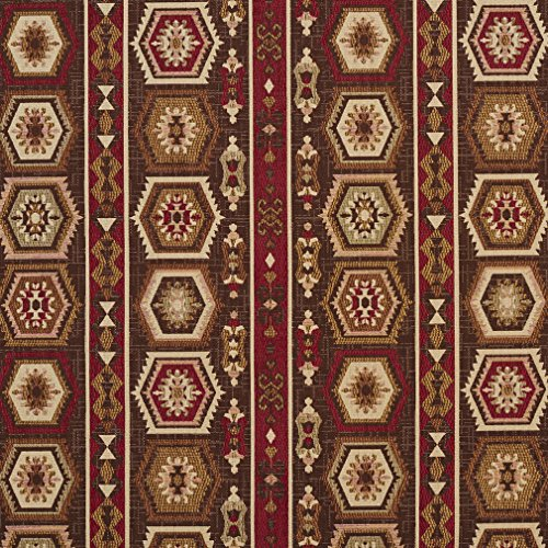 - E715 Dark Brown, Dark Red and Beige Woven Southwestern Geometric Stripe Upholstery Fabric by The Yard