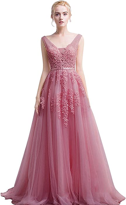 76489719af Dusty Pink Tulle Double V-Neck Princess Style Prom Dresses Long Evening Gown  with Appliques